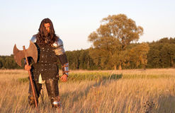 Medieval knight. In the field with an axe stock photos