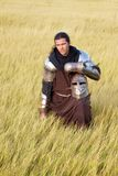 Medieval knight. In the field with a helmet stock image