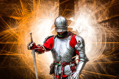 Paladin knight. Archangel Michael with the luminous wings Stock Photography