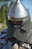 Medieval knight in armor and helmet Royalty Free Stock Image