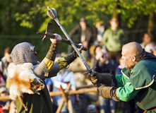 The staging of medieval sword fighting Stock Image