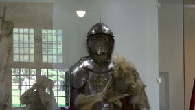 Medieval knight  armour at museum stock footage