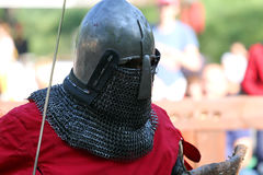 The Medieval knight before battle. Portrait Stock Photography