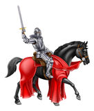 Medieval Knight on Black Horse Stock Photo