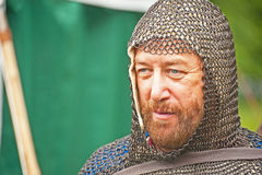 Medieval Knight at Brodie Castle. Medieval Knight in chain mail at the Highland Battle group re-enactment held at Brodie Castle on 1st July 2012 royalty free stock photos
