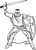Medieval knight crusader. Medieval knight. Black and white vector illustration Stock Photos
