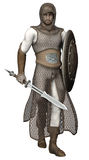 Medieval knight. 3D render of a medieval knight with a sword Royalty Free Stock Photos