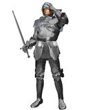Medieval Knight in Decorated Armour. Medieval or Fantasy Knight in decorated armour raising his visor, 3d digitally rendered illustration Stock Photography