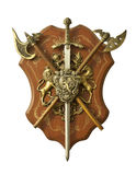 Medieval Knight Decoration. Photo of a ornament for medieval style knight decoration, including a short sword / dagger and two axes, with some kingdom emblems Stock Photography