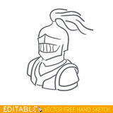 Medieval Knight. Editable vector icon in free hand style Stock Photography