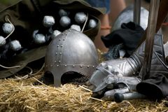 Medieval knight equipment. Ans weapons Royalty Free Stock Photos