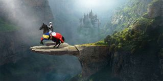 Medieval Knight, Fantasy Stone Castle, Horse. A medieval knight rides a horse in a fantasy landscape. The man of chivalry has an ancient stone castle in the royalty free illustration