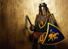 Medieval knight in full armor Stock Photo