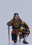 Medieval knight in full armor isolated on grey Stock Photo