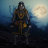 Medieval knight in full armor outdoors at night Royalty Free Stock Photos