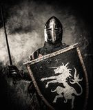 Medieval knight in full armour Stock Image