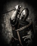 Medieval knight in full armour Royalty Free Stock Photos