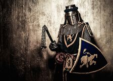 Medieval knight in full armour Stock Photos
