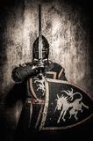 Medieval knight in full armour Stock Photo