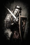 Medieval knight in full armour Royalty Free Stock Photo