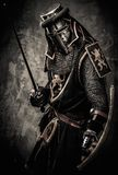 Medieval knight in full armour. Medieval knight with a sword against stone wall Royalty Free Stock Images