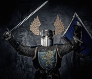 Medieval knight in full armour Stock Photography