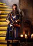 Medieval knight on guard in ancient castle  interior. Stock Photography
