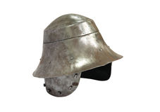 Medieval Knight Helmet. Ancient military iron knight helmet on white background. Isolated with clipping path Royalty Free Stock Photo