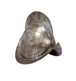 Medieval Knight Helmet. Ancient Spanish military iron knight helmet on white background. Isolated with clipping path Royalty Free Stock Photos