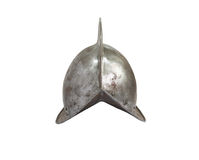 Medieval Knight Helmet. Ancient Spanish military iron knight helmet on white background. Isolated with clipping path Stock Photography