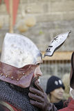 Medieval knight with helmet Stock Images