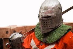 Medieval knight in helmet with sword Stock Photo
