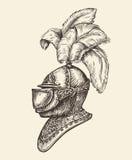 Medieval knight helmet. Vintage sketch, vector illustration. Medieval knight helmet. Vintage sketch vector illustration Royalty Free Stock Photo