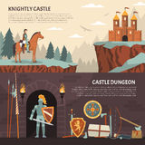 Medieval Knight Horizontal Banners Royalty Free Stock Photography