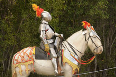 Medieval knight on horse Stock Photo