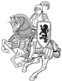 Medieval knight on the horse Royalty Free Stock Images