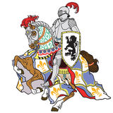 Medieval knight on horse Stock Images