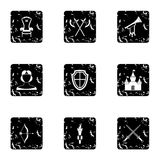 Medieval knight icons set, grunge style Stock Photography