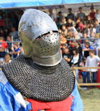 Medieval knight in iron armor closeup Stock Photography