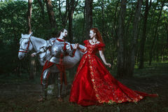 Medieval knight with lady Stock Image