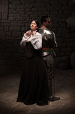 Medieval knight and lady posing Royalty Free Stock Photos