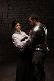 Medieval knight and lady posing Stock Image