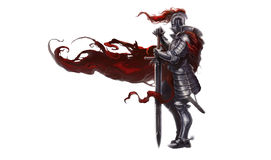 Medieval knight with long sword. Illustration of medieval knight with long sword and red robe blowing in wind, white background