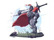 Medieval knight in metal armor and helmet Royalty Free Stock Photography