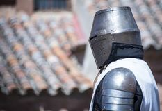 Medieval knight with metal helmet. Is heading towards battle Royalty Free Stock Photo
