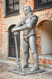 Medieval knight  near castle Stock Photos