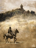 Medieval knight. Observing a castle situated on the top of a mountain Stock Photo