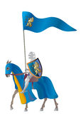 Medieval Knight in a parade vestment. Equestrian knight with flags in a parade vestment on a white background Stock Photos