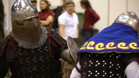 Medieval Knight Perform Battle at Exibition Center stock video