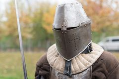 Medieval knight prepare to fight. Medieval knight training for battle in a fort Royalty Free Stock Photo